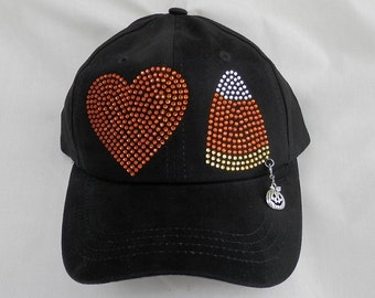 Rhinestone Halloween Heart And Candy Corn Hat It Comes With A Removable Pumpkin Charm Or Choose A Charm From The 2nd Pic Halloween Hat/Cap