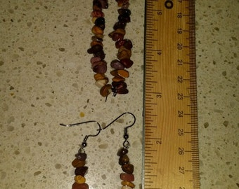 Natural Healing Stones, Mookaite Earrings & Bracelet