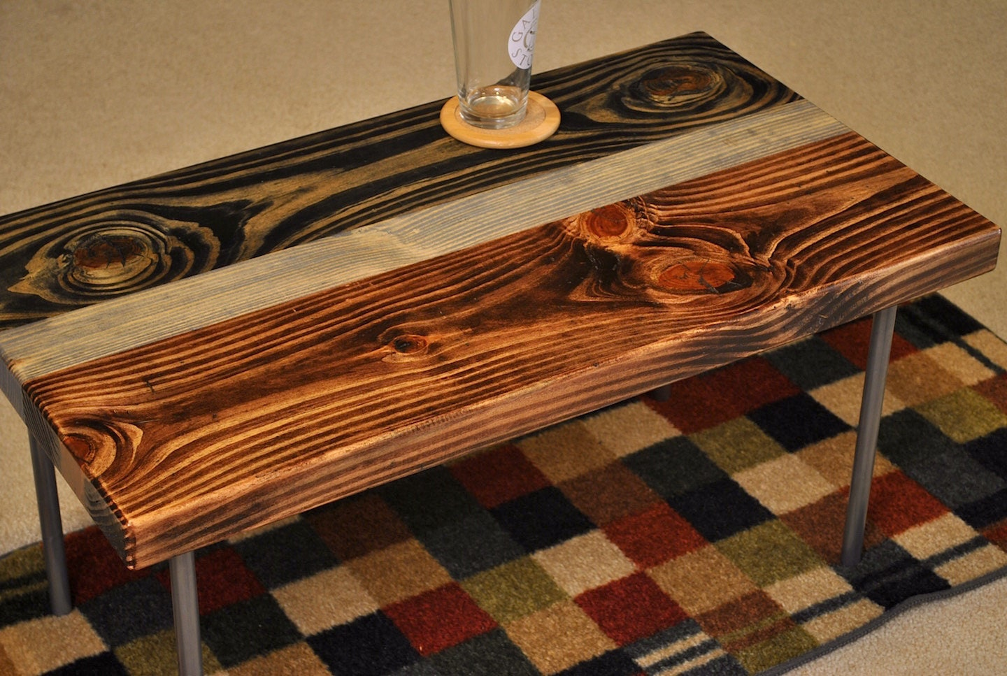 Metal Leg Coffee Table Ebony And Red Oak Stain