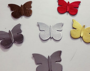 Metallic Felt Butterfly - Silver,Gold,Bronze,Brown,Red - DIY - Faux Leather Butterfly - Leatherette Butterfly- Hairclips Supplies - 1 Piece