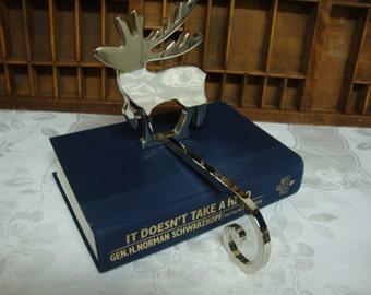 Silver Plate Reindeer Stocking Holder