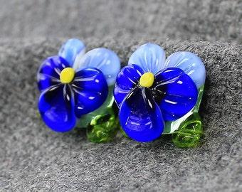 Handmade Lampwork Flowers Beads - Set of 2 Little Sweet Glass Flowers Beads, Glass Beads, Floral Lampwork, Lampwork Flower Beads, Lampwork