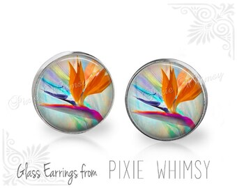 BIRD OF PARADISE Earrings, Bird of Paradise Stud Earrings, Bird of Paradise Post Earrings, Stud Earrings, Pierced Earrings, Flower Studs