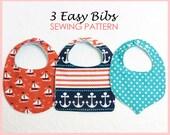 3 in 1 - Baby bib sewing pattern, Baby sewing pattern for Bibs, infant bib, BASIC BIBS pattern