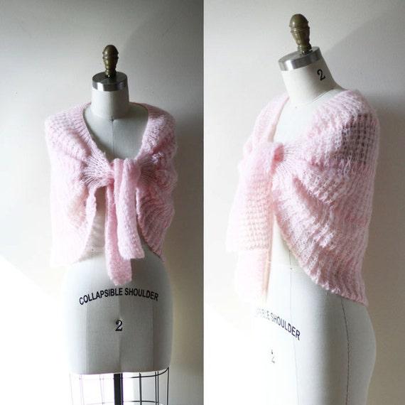 1950s baby pink wrap sweater // vintage shrug // vintage sweater