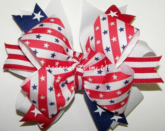 Patriotic Hair Bow, US Pageant Hairbow, Red White Blue Ponytail Clip, Stars Stripes Hair Clips, Girls Baby Toddler Cheerbow, Dance Troop Bow