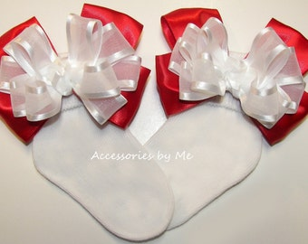 Girls Red White Socks, Custom Bow Socks, Frilly Red Baby Socks, Infant Red White Socks, Newborn Socks, Toddler Socks, Flower Girl Red Socks