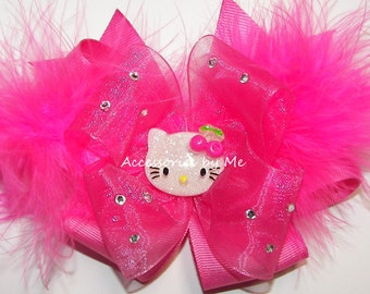 Hello Kitty Hair Bow, Hot Pink Organza Marabou Feather Bow, Baby Girls Toddler Accessories Clip, Pageant First 1st Birthday Party Photo Prop
