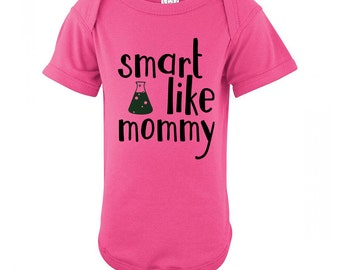 Nerdy Baby Clothes Smart Like Mommy Onepiece Science Onepiece Baby Science Clothes Cute Baby Clothes Science Baby Gift Ideas Librarian Gifts