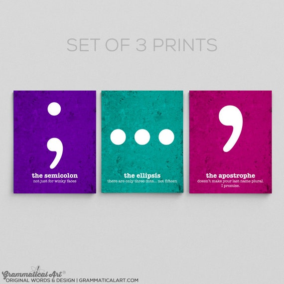 Grammar Funny Definition Prints - Set of Three 8x10s - Great English Gift Gift Teacher Gift / Gifts for Teachers English Gifts Gag Gift