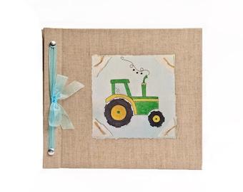 Baby Book - Baby Memory Book - Boy, Tractor, Baby Album - Tractor Baby Memory Book - Hugs and Kisses XO Baby Memory Book