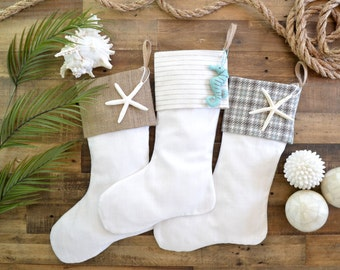 Beach Stocking Set - Linen Look Stockings - Set of 3 -Neutral Stockings, Beach Stockings, Personalized