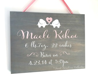 Wooden Birth Announcement Baby Sign - BS-7