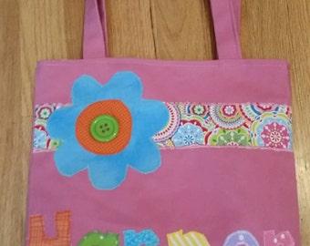 Preschool Personalized Kids Tote Bag, Girl Tote Bag, Nursery School Canvas Tote Bag, Flower Reversible, Tote Bag for Kids, Bookbag, Birthday