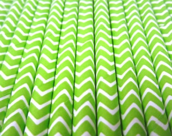 25 Lime Green and White Chevron Stripe Paper Drinking Straws - Party Decor Supplies Tableware