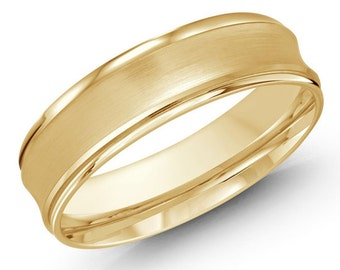 Men's 7 MM concave satin finish all yellow gold band (MDVB0186)