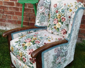 Beautiful re-upholstered floral linen 1940's armchair.