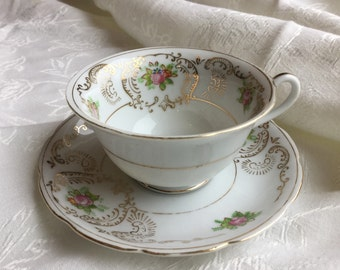 Lorraine Tea Cup and Saucer - Hand Painted Japanese Tea Cup and Saucer - Pink Roses Gold Trim