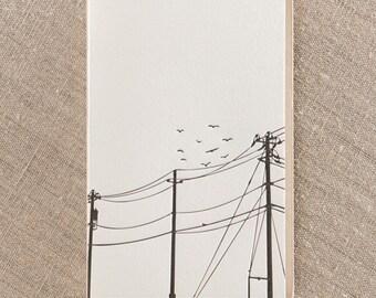 Powerlines Letterpress Greeting Card