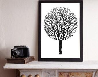 Urban Forest A3 Print / Tree Print, Tree Poster, Graphic Print, Graphic Poster, Graphic Art, Black Print, Monochrome Print