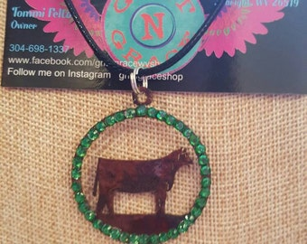 Show steer necklace with bling gift FFA 4-H farm girl jewelry cowgirl western stock show
