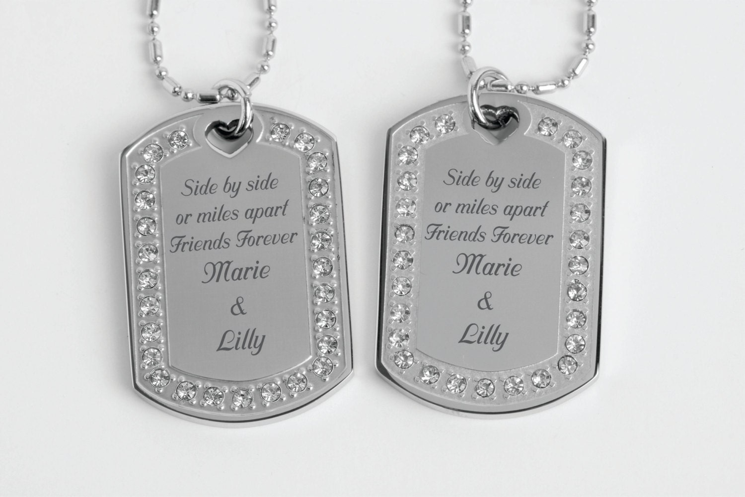 personalized necklaces rhinestone silver dog tag necklace set. Black Bedroom Furniture Sets. Home Design Ideas