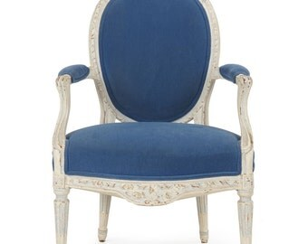 French Louis XVI Carved and Painted Fauteuil 18th Century, 505WKQ20P