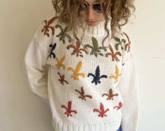 Vintage Hipster White Fleur De Lis French Lily Knit Sweater