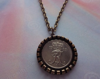 "Danish ""R"" Denmark  Coin Necklace -Denmark 1969 Coin Pendant in Pendant Tray"