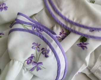 1970s Albert Nipon Violets Maxi Patio Party Dress Pockets
