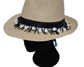 Panama Straw Hat with Black and White Elements, Fashion Straw Hat, Sraw Fedora Hat