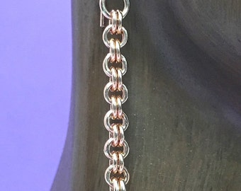 Rose Gold Chainmaille Byzantine Knot Dangle Earrings