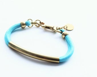 Gold Brass Tube Solid Paracord Small Snap Hook Bracelet