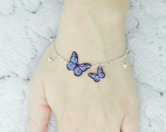 Iridescent Butterflies Bracelet - Shape 10 / Bilberry Crush