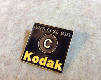 """Vintage Kodak Pin, Who Else But Kodak with Large """"C"""" - Black, Gold and Yellow - Hat or Lapel Pin"""