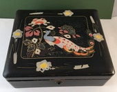 Occupied Japan Painted Bird Peacock Flowers Black Lacquer  Jewelry Box