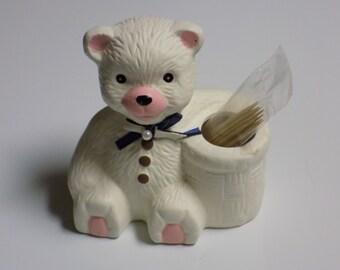 Vintage Loomco Teddy Bear Toothpick Holder