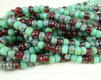 Czech Beads, Trica Beads, Czech Glass Seed Beads - Turquoise and Burgundy (TRICA/N-1199) - 3x4mm - Qty. 50