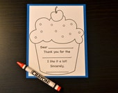 Kid's Thank You Card, Fill In The Blank, Birthday Thank You Card, Set of 8