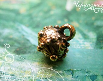Button brass jewelry making supply Pendant L0823(6). Charm, button, dotted, round, ball, dot