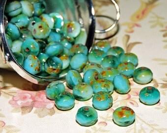12 ~ Ocean Green Aqua 7x5mm Czech Glass Picasso Rondelles
