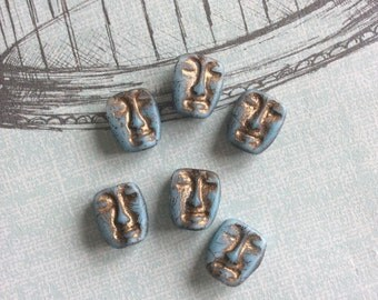 Czech Glass Mask Matte/Old Patina x 6 Beads 13mm x 11mm