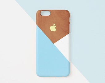 iPhone case - Pastel blue layered wood pattern - iPhone 7 case, iPhone 7 Plus case, iPhone SE, iPhone 5s case, non-glossy L06