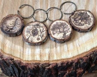 Wine Glass Charms, set of 4 wood burned wine glass charms, trees
