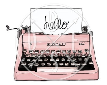 A0068_pink - Pink Retro Typewriter, Vintage Typing Machine - Digital Print, Instant Download. Printable Illustration. PNG/JPG files 8x10''.