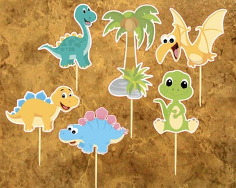 Dinosaur cupcake toppers Party - Birthday Party - 12 Dino cupcake toppers - Dino Shower.