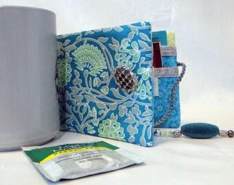 Aqua/gray tea bag wallet, blue tea bag wallet
