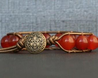 carnelian bracelet - single wrap on bronze leather - bronze button - red orange gemstone bracelet - mens or womens - boho bohemian jewelry
