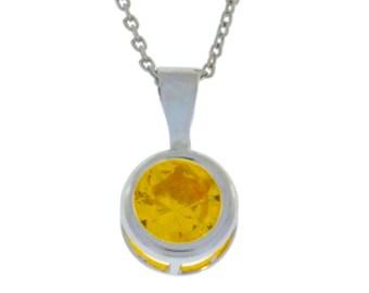 Citrine Round Bezel Pendant .925 Sterling Silver