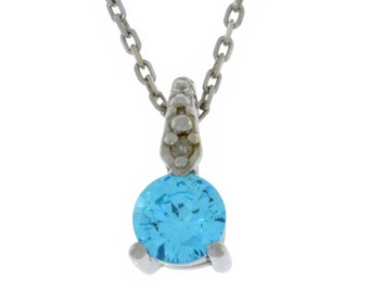 Swiss Blue Topaz & Diamond Round Pendant .925 Sterling Silver